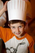 Angelo's little boy in chef hat - photo taken at Angelo's Ristorante Cda